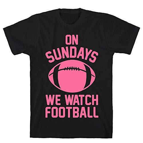 LookHUMAN On Sundays We Watch Football Small Black Men's Cotton Tee