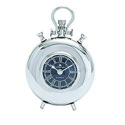 Benzara Nickel Plated Table Clock