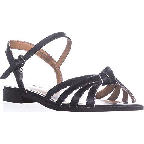 Coach Womens Sophia Open Toe Casual Strappy Sandals Black Soft Calf/Black/White Land Snake