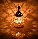 Collectible India Akhand Diya Decorative Brass Crystal Oil Lamp Tea Light Holder Lantern Oval Shape | Diya for Puja and Festival Decoration