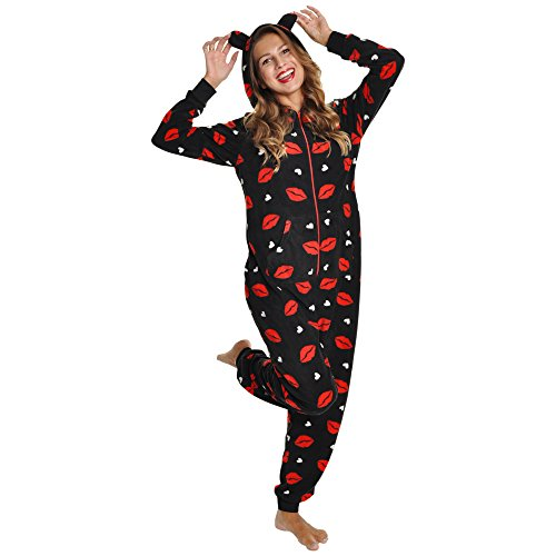 Angelina Women's Fleece Novelty One-Piece Hooded Pajamas, #1Z_LIPS_SM