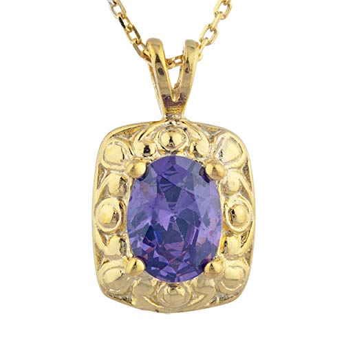 - 1.5 Ct CZ Amethyst Oval Design Pendant Necklace 14Kt Yellow Gold Rose Gold Silver