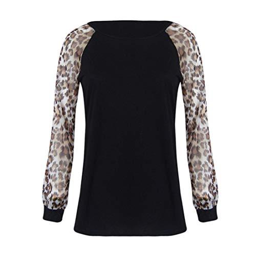SurdimensionnS Hauts T Aux Noir Blouse Femme LOpard LianMengMVP Longue Shirt Femmes Manche WYzvgwaq