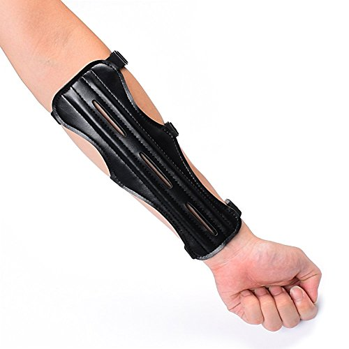 Huang gui Archery Arm Guards Protection Safer Pu Arm Guard With 3 Adjustable Straps Color Black (Pack Of 1)
