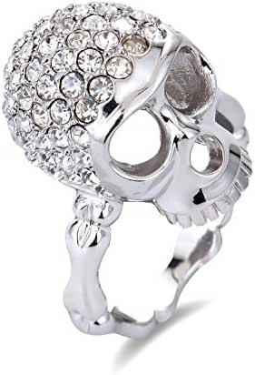 Michley Skull Ring Silver Tone With Clear Crystal