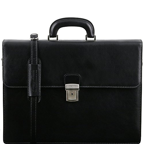 Tuscany Leather - Parma - Cartable en cuir avec 2 compartiments - Noir - Homme