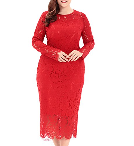 (Eternatastic Women's Floral Lace Long Sleeve Plus Size Dress for Christmas Dress Red)