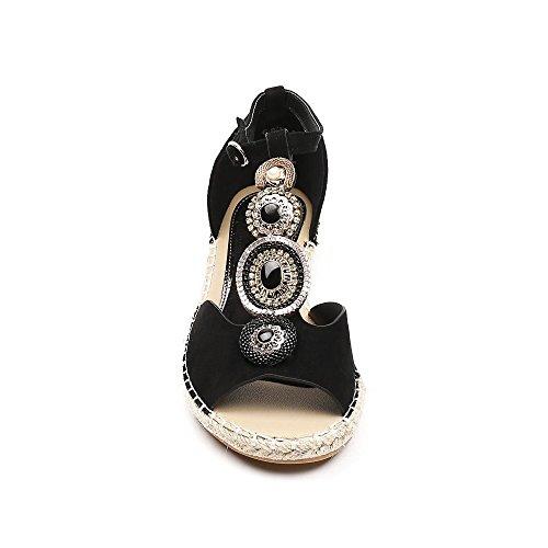 Ideal Shoes, Damen Sandalen Schwarz