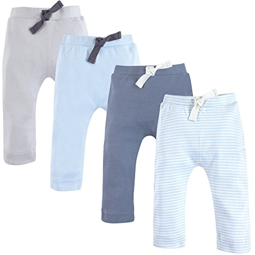 Touched by Nature Baby Organic Cotton Pants, Light Blue and Gray 4Pk, 12-18 Months (18M)
