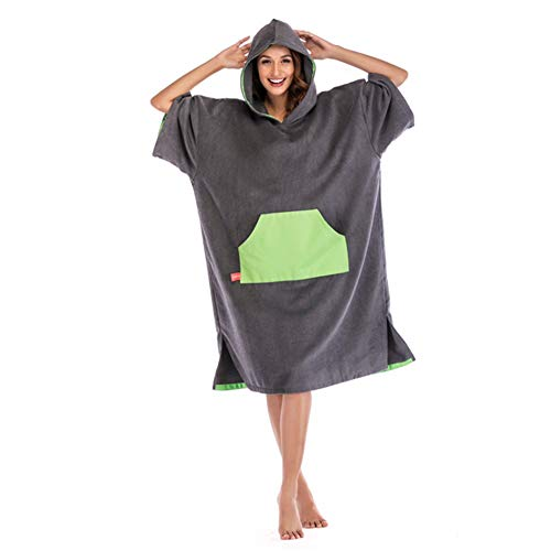 Beach Poncho Oversized Beach Surf Poncho Hooded Towel Cover Up Bathrobes Microfiber Quick Drying Changable Clothes Wetsuit Changing Towel Swimming Bath Robe With Hood Pocket Short Sleeve Sand-Proof Fo