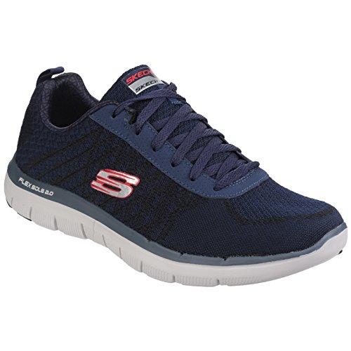 Skechers Mens Flex Advantage 2.0 Gouden Punt Sportschoenen / Sneakers Marine / Rood