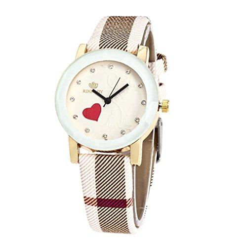 BEUU 2018 New Specials Irregular Stripes Belt Quartz Watch Women Men Fashion Love Leather Band Analog Round Wrist Watches Watch Wristwatch Fashion (Khaki)