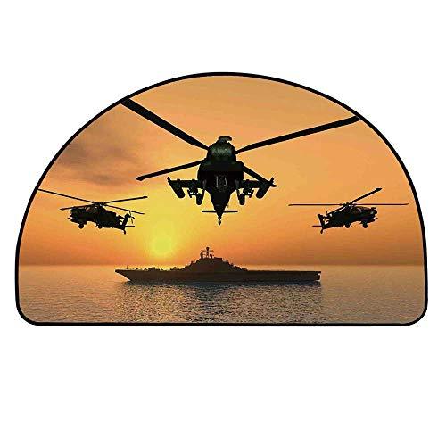(YOLIYANA War Home Decor Half Round Door Mat,Battle Helicopter Over The Ocean Sea and Aircraft Carrier on Combat Art Photo for Indoor Outdoor,35.4