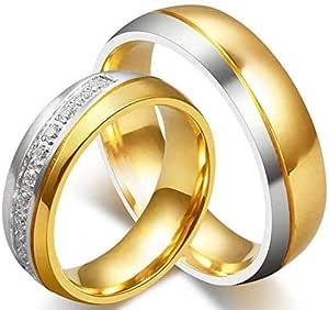 18K Gold Plated Titanium Steel Shining Diamond Wedding Love Couple Ring Set Female us7 Male us8 cr16
