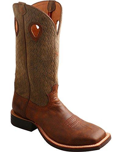 Gedraaide X Mens Kemphaan Basketweave Cowboy Laars Vierkante Teen - Mrs0053 Bruin