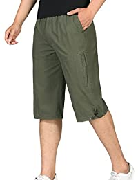 Men's Relaxed Fit Chino Shorts Elastic Waist Twill Cargo Short Pants