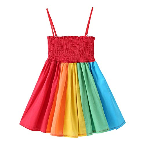 Baby Girls Rainbow Dress Boho Toddler Pageant Princess Sleeveless Halter Beach Sundress]()