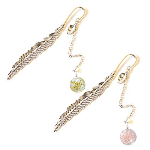 Bookmarks Reading Page Markers Antique Metal Book Clips with Dried Flower Specimen Pendant, 2 Pack (Bookmark Gem)