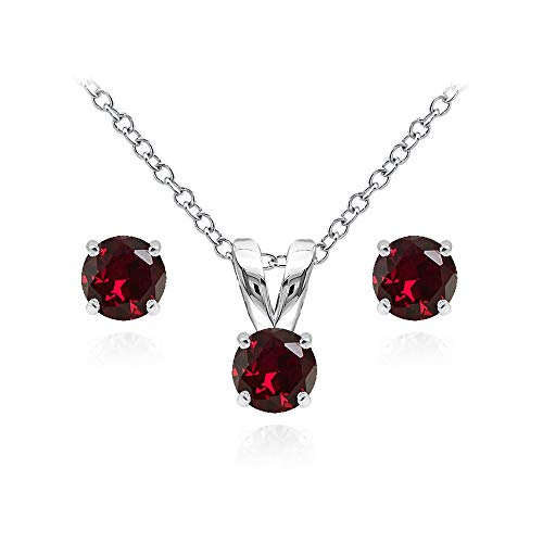 Sterling Silver Created Ruby 5mm Round Solitaire Pendant Necklace and Stud Earrings Set for Teens