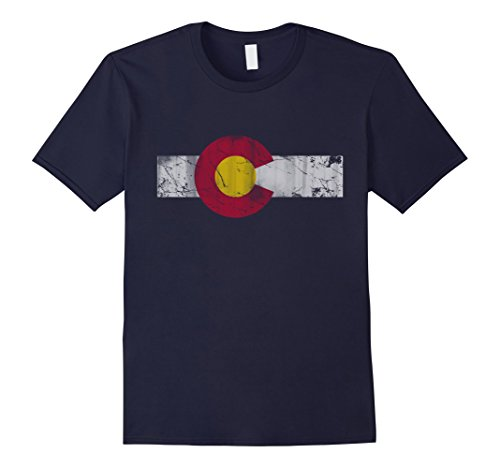 Mens Vintage Patriotic Flag of Colorful Colorado Shirt Large Navy