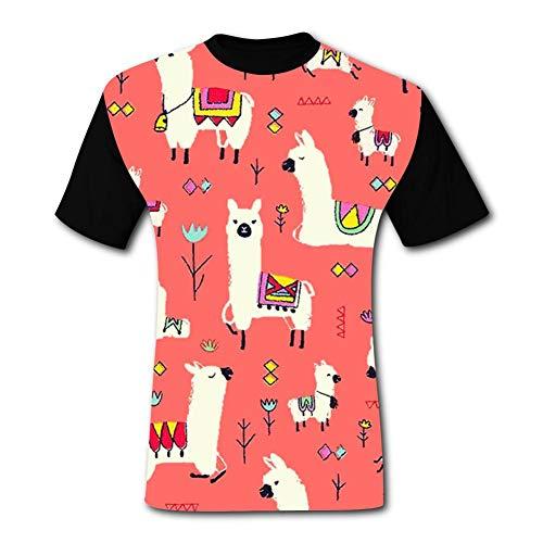 Alpaca in Pink Mens Short Sleeve Raglan T-Shirts Workout Baseball Shirts Jersey Tee