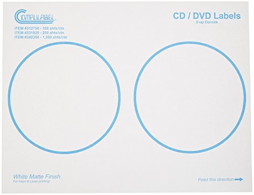 Continental Compulabel CD/DVD Labels for Laser and Inkjet...