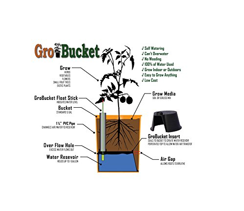GroBucket Garden Kit (3PK) Self Watering sub-irrigated planter insert. Turn any bucket into a Self Watering Container Garden. Create an indoor or outdoor, space saving and portable garden in minutes.