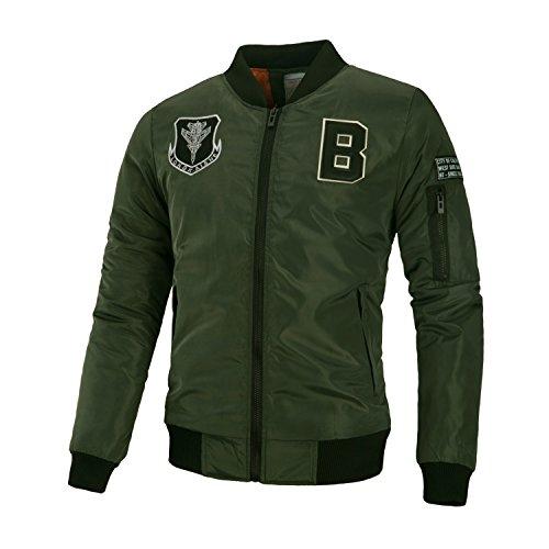 de otoño invierno gruesa pegados casual cartas e en chaqueta chaqueta 3XL de código hombre Hombres personalizadas europeo militar de un verde qXxtnEF