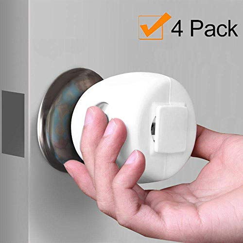 Door Knob Safety Cover Toddler and Baby Safety - Child Proof Doors All White Choose 1 of 4 Colors Available White- Four Pack By UnaBaby