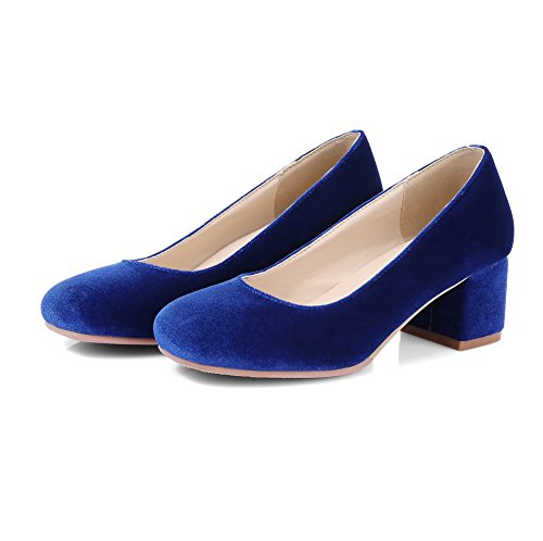 Balamasa Mujeres Chunky Heels Low-cut Uppers Pull-on Suede Bombas-zapatos Azul