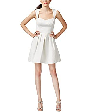 GUESS Women's Metallic Fit Flare Party Dress