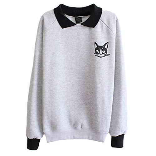 Chemises Femmes À Sweatshirt Manches Pétrole Chat Longues Imprimé Mini zgq5wPPU