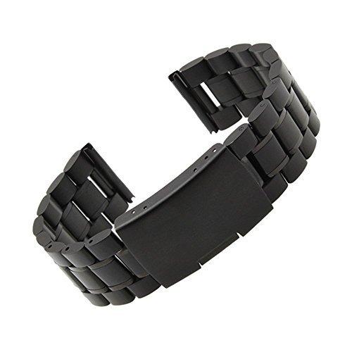 Garmin Vivomove Watch Band, Threeeggs Stainless Steel Watch Band Strap for Garmin Vivomove Sport/Classic/Premium Smart Watch (B Black)
