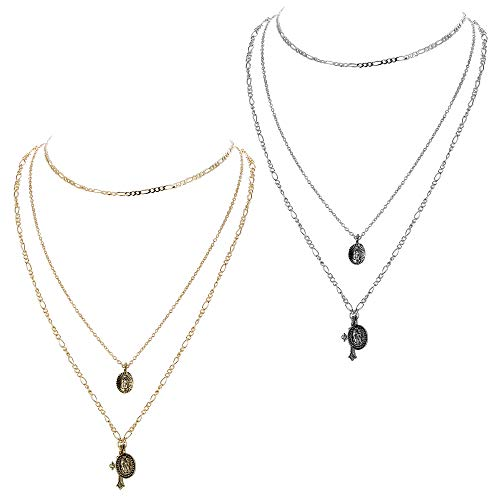 ORAZIO Layered Necklaces for Women Girls Cross Virgin Mary Pendant Necklace Set