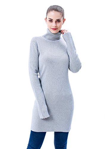 MEEFUR Spring Casual Stretchy Tunic Long Pullover Ribbed Turtleneck Tops Sweater Soft Dress Knitwear For Women Grey
