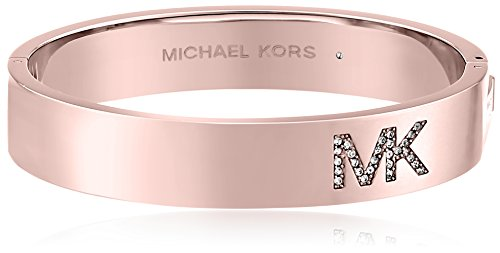 Michael Kors Rose Gold Tone Pave Logo Hinge Bangle Bracelet
