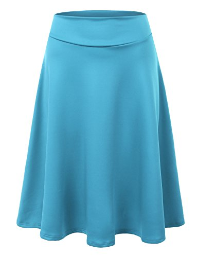 Doublju Elastic High Waist A-Line Flared Midi Skirt For Women With Plus Size (Made In USA) TURQUOISE (Turquoise Floral Skirt)
