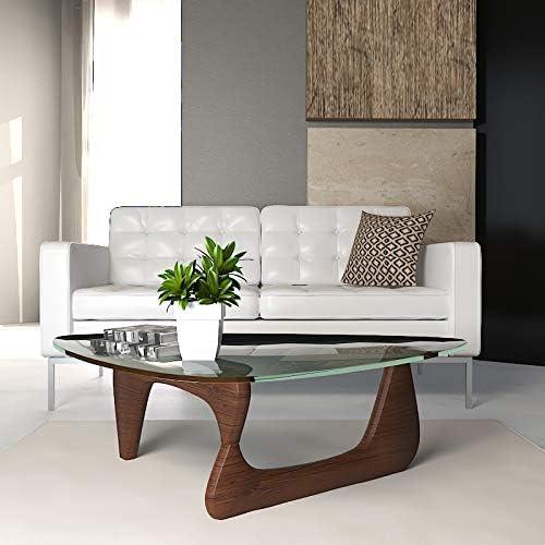 LeisureMod Imperial Glass Top Triangle Coffee Table Dark Walnut Base