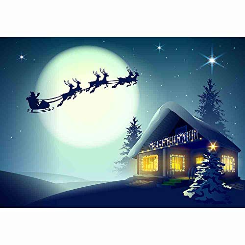 (Allenjoy 7x5ft Christmas Background Vinyl Photography Background Santa Claus Riding Reindeer Christmas Town Full Moon Night Snow Sky Fantasy Snowflake Winter Festival New Year Background)