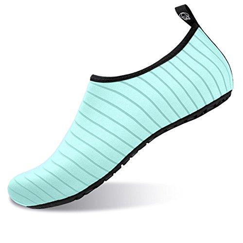 JIASUQI Womens Barefoot Water Shoes Aqua Socks for Beach Pool Green US 9.5-10.5 Women, 8.5-9 Men by JIASUQI