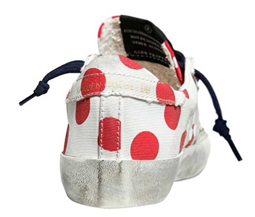 GOLDEN GOOSE SUPERSTAR LOW TOP SNEAKERS WHITE RED POIS SNEAKER TELA G28KS502.Q3