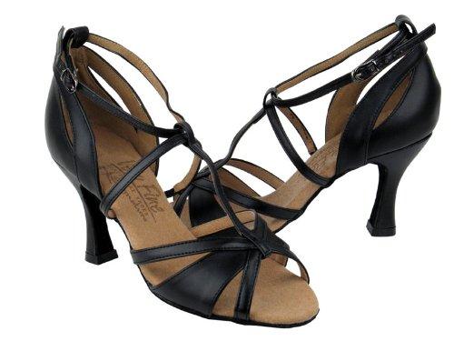 Scarpe Da Ballo Da Donna Per Ballare Latino Salsa Tango Signature S1002 In Pelle Nera 2,5 Tacco