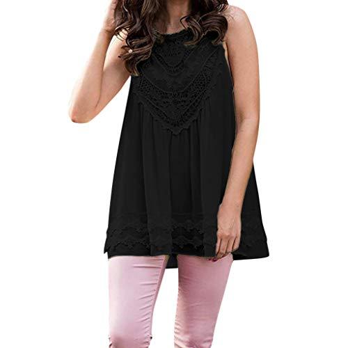 HIRIRI Women's Slim Fit Summer Casual Sleeveless Lace Tops Lace Trim Tunic Tops Chiffon Blouses Black ()