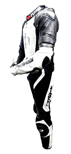 1 Pc Perrini White and Black Genuine Cow Leather Motorbike Riding Motorcycle Racing Suit