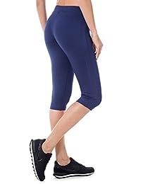 SYROKAN Women's Tights Active Athletic Yoga Running Sports Capris Leggings Navy M