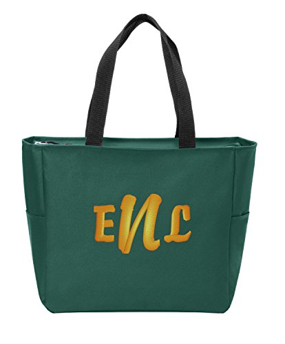 All about me company Essential Zip Tote | Personalized Monogram/Name Shoulder Bag (Green Glen)