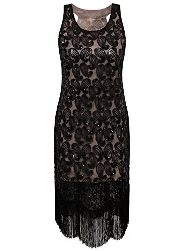 Vijiv 1920s Gastby Bead Sequin Embellished Fringe Paisley Cocktail Flapper Dress Black Beige (Halloween 1930 Costumes)