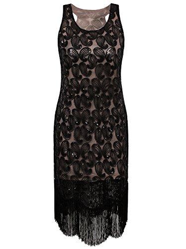 Vijiv 1920s Gastby Bead Sequin Embellished Fringe Paisley Cocktail Flapper Dress Black Beige large