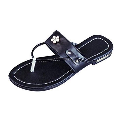 Deesee (tm) Dames Zomerse Strandschoenen Bloem Platte Sandalen Antislip Pantoffelsandaal Zwart
