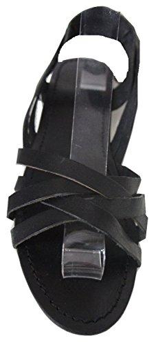 """Mesdames John Lewis """"Kady noir en cuir véritable plat bretelles Sandal"""